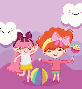 小さな子供が漫画を遊ぶおもちゃオブジェクト、ガラガラとボールのイラストがかわいい女の子