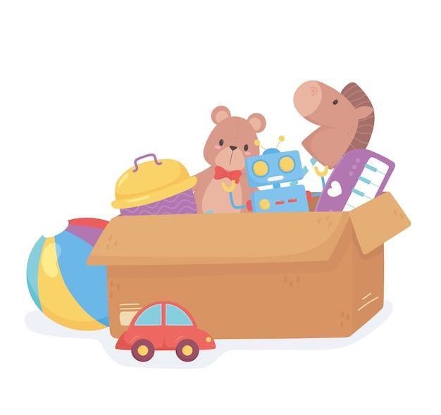 小さな子供が段ボール箱で漫画を遊ぶためのおもちゃオブジェクト