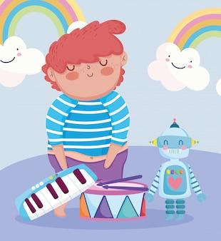 작은 아이들이 만화, 로봇 드럼 및 피아노 일러스트와 함께 어린 소년을 재생하는 장난감 개체