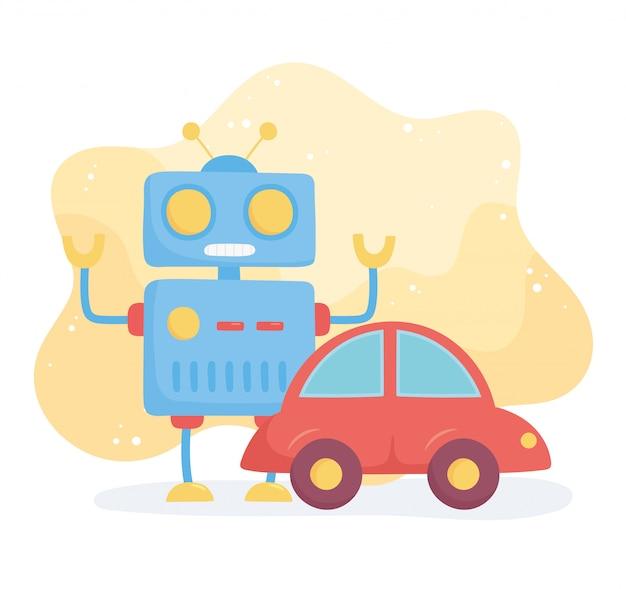 小さな子供が漫画のロボットと車を遊ぶためのおもちゃオブジェクト