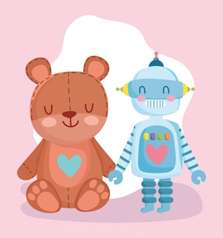 Toys object for small kids to play cartoon, cute teddy bear and robot illustration