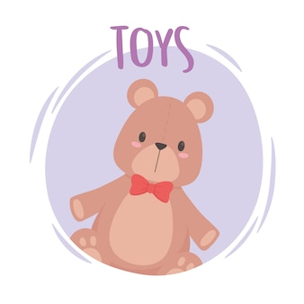 Toys object for small kids to play cartoon teddy bear with bow