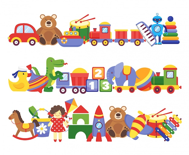 Toys pile. groups of children plastic game kids toys elephant teddy bear train rocket ship doll dino