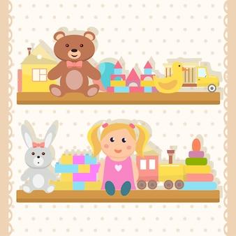 Toys set flat design