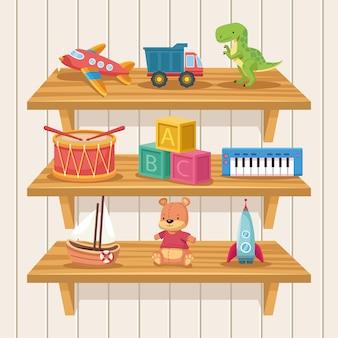 Toys in shelf scene