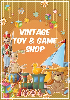 Toys shop colored poster with vintage toy and game shop title