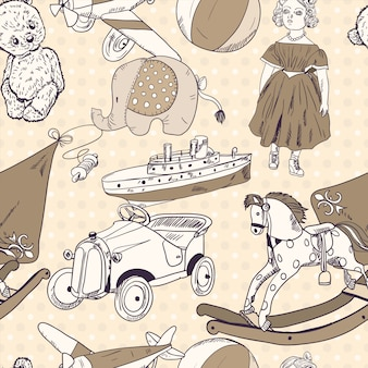 Toys sketch seamless pattern wallpaper