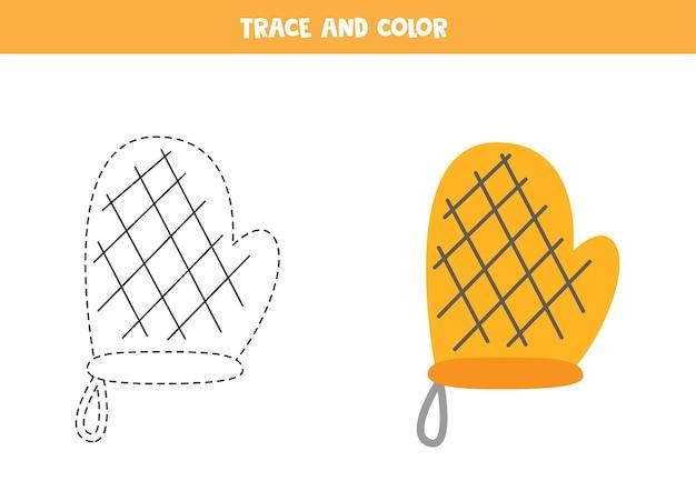 トレースとカラーのベーキンググローブ。子供のための教育ゲーム。ライティングとカラーリングの練習。