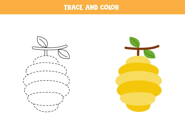 ミツバチの巣箱をトレースして色付けします。子供のための教育ゲーム。ライティングとカラーリングの練習。 Premiumベクター