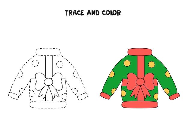 추적 및 색상 만화 크리스마스 스웨터입니다. 아이들을 위한 워크시트.