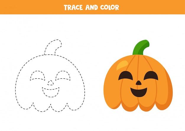 Проследите и раскрасьте мультяшные тыквы на хэллоуин. практика почерка.