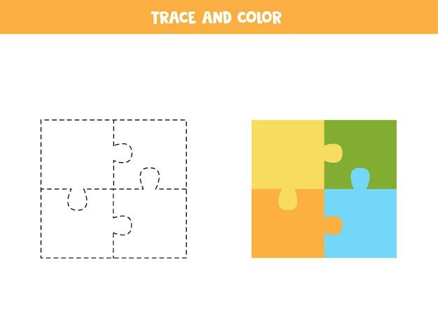トレースと色の漫画のパズル。子供のための教育ゲーム。ライティングとカラーリングの練習。