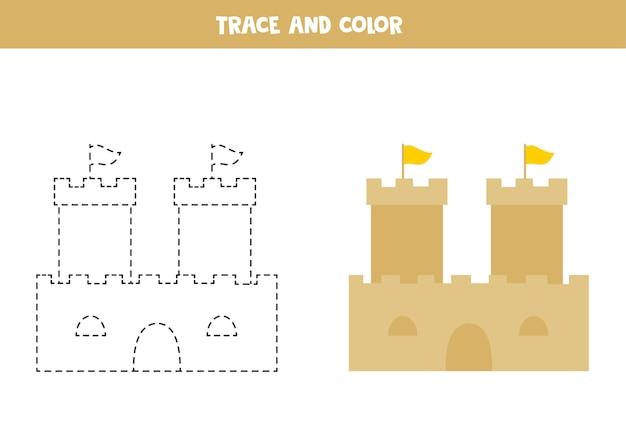 トレースと色の漫画の砂の城。子供のためのワークシート。
