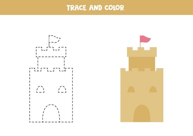 漫画の砂の城をトレースして色を付けます。子供のためのワークシート。