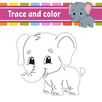 トレースと色。子供のためのぬりえ。手書きの練習。