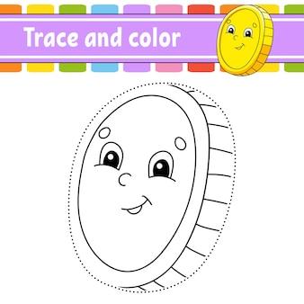 추적 및 색상. 아이들을위한 색칠 공부 페이지. 성 패트릭의 날.