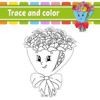 トレースと色。子供のためのぬりえ。