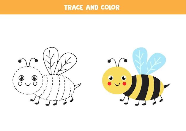 かわいい蜂をトレースして色付けします。子供のための教育ゲーム。ライティングとカラーリングの練習。