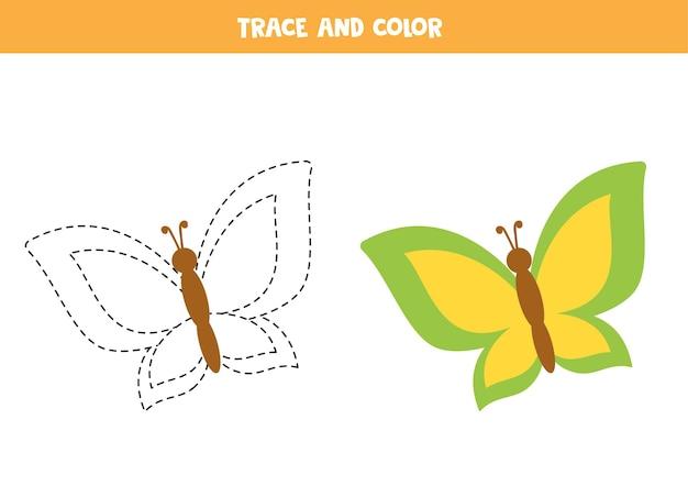 かわいい蝶をトレースして色付けします。子供のための教育ゲーム。ライティングとカラーリングの練習。