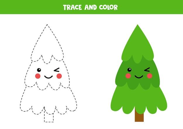 かわいいモミの木をトレースして色を付けます。子供のためのクリスマスのワークシート。未就学児のためのライティングの練習。