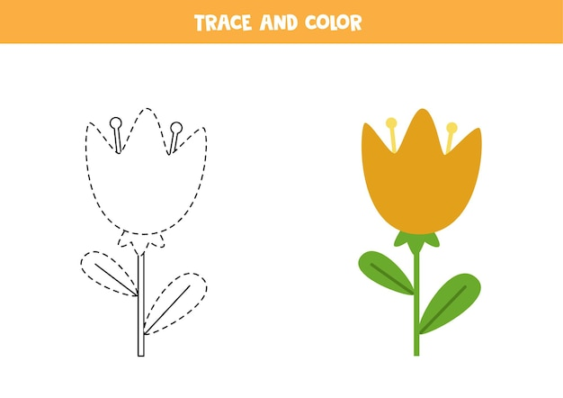 かわいい花をトレースして色付けします。子供のための教育ゲーム。ライティングとカラーリングの練習。