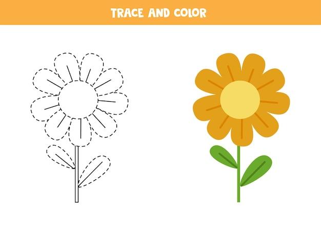 귀여운 꽃을 추적하고 색칠하십시오. 아이들을위한 교육 게임. 쓰기 및 채색 연습.