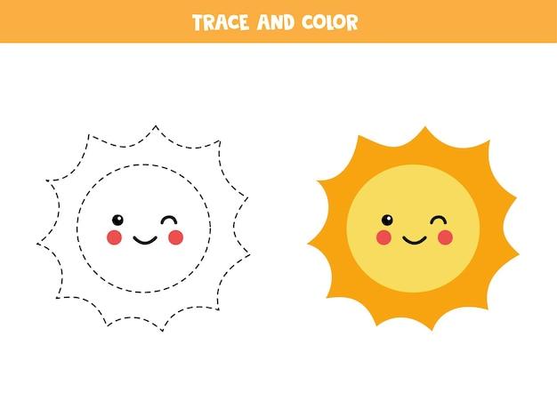 귀여운 귀여운 태양을 추적하고 색칠하십시오. 아이들을위한 교육 게임. 쓰기 및 채색 연습.