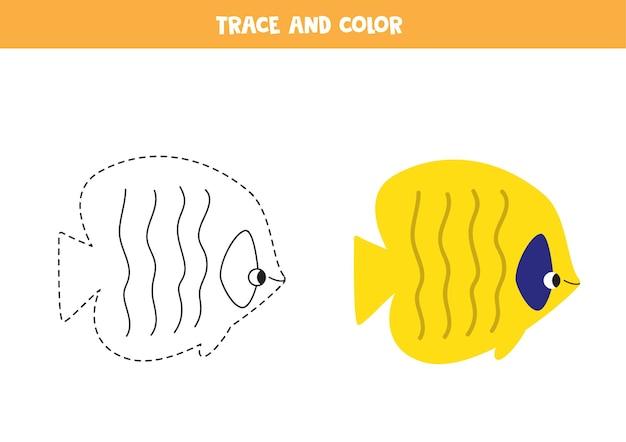 귀여운 바다 물고기를 추적하고 색칠합니다. 아이들을위한 교육 게임. 쓰기 및 채색 연습.