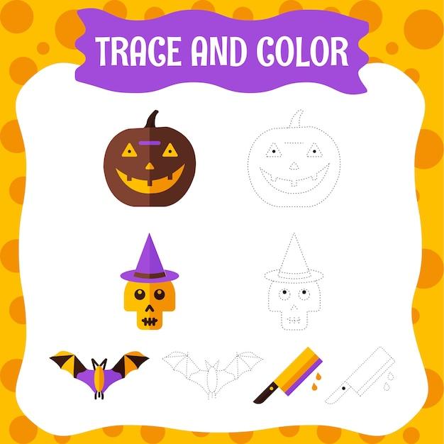 ハロウィーンのキャラクターのトレースとカラーリング-子供向けのカラーリングページ。