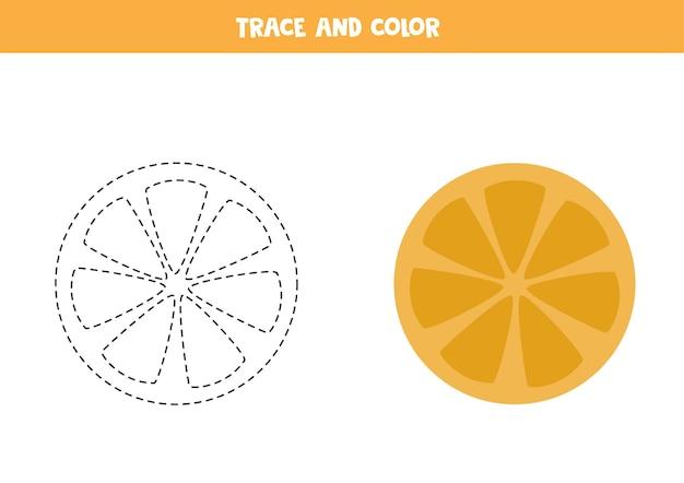 オレンジ スライスをトレースして色付けします。子供向けの教育ゲーム。ライティングとカラーリングの練習。