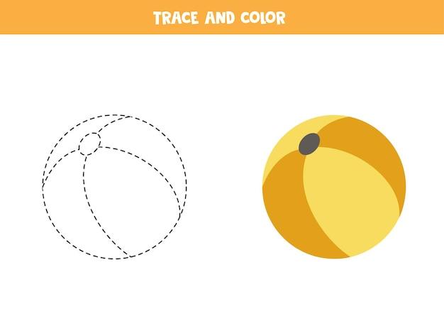 おもちゃのボールをなぞって着色します。子供向けの教育ゲーム。ライティングとカラーリングの練習。