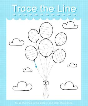 Трассировка и цвет: рабочий лист трассировки линии для дошкольников - воздушные шары