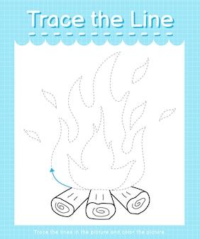 Рабочий лист trace and color trace the line для детей дошкольного возраста - fire