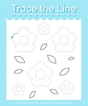 Рабочий лист trace and color trace the line для детей дошкольного возраста - цветы