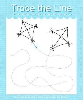 Трассировка и цвет: рабочий лист трассировки линии для детей дошкольного возраста - воздушный змей