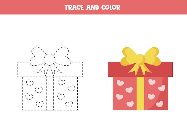 トレースと色のバレンタインギフト子供のための教育ゲーム