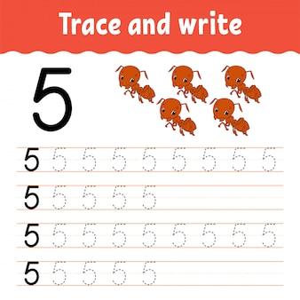 トレースと書き込み。手書きの練習。子供のための学習番号。教育開発ワークシート