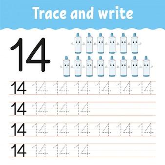 トレースと書き込み。ナンバー14.手書きの練習。子供のための学習番号。