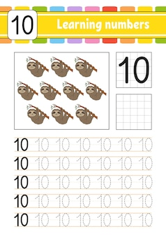 Нарисуйте и запишите числа. практика почерка.