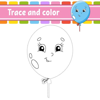 Trace and color birthday theme coloring page for kids