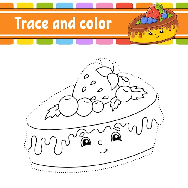 Trace and color birthday theme