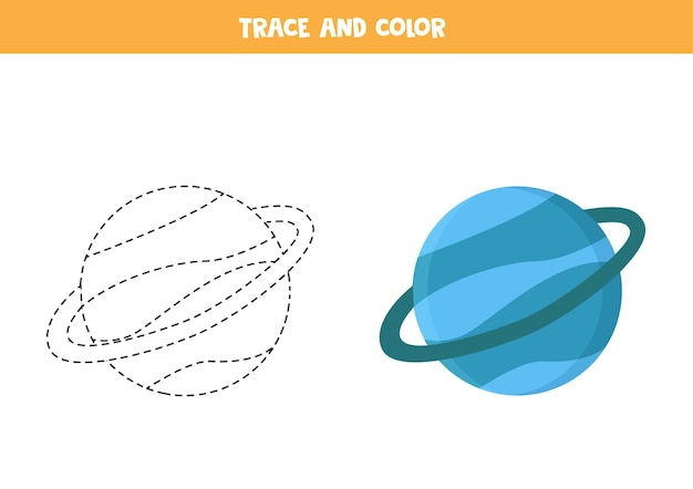 Trace and color blue planet uranus. educational game for kids. writing and coloring practice.
