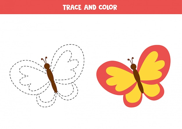 Trace and color cartoon  butterfly. educational coloring page. handwriting practice for preschoolers.