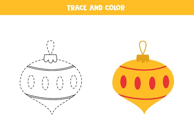 Trace and color cartoon christmas ball. worksheet for kids.