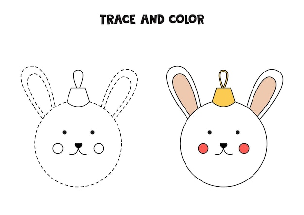 Trace and color cartoon christmas bauble. worksheet for kids.
