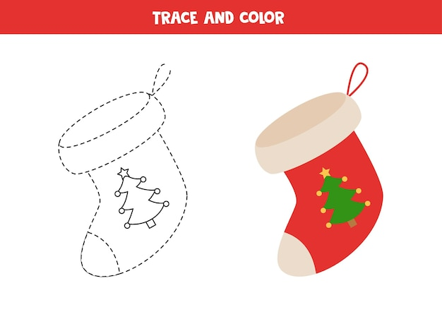 Trace and color cartoon christmas sock. worksheet for kids.