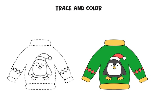Trace and color cartoon christmas sweater. worksheet for kids.