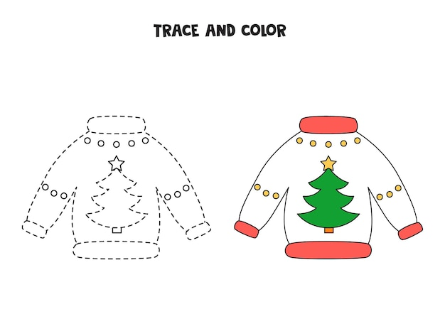 Trace and color cartoon christmas sweaters. worksheet for kids.
