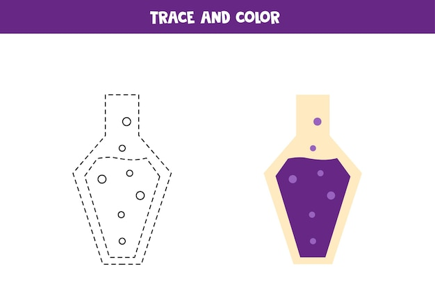 Trace and color cartoon potion. worksheet for kids.