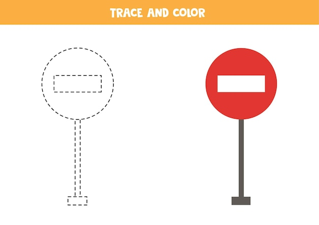 Trace and color cartoon traffic stop sign. educational game for kids. writing and coloring practice.